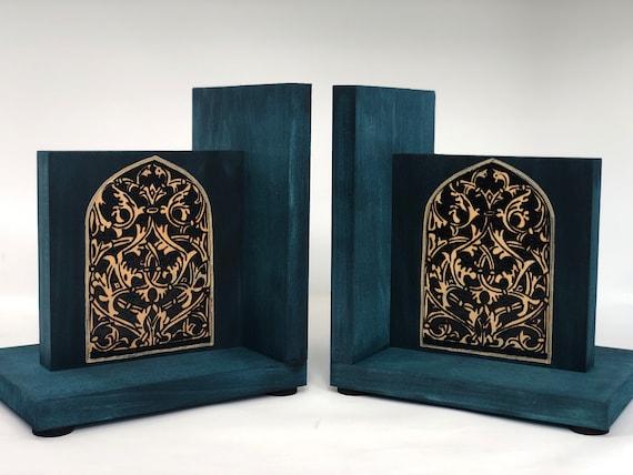 Bookends; Arabesque design; historical design; old window design;  blue; woodburning; old world office decor; history teacher professor gift