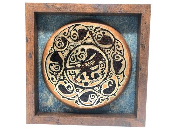 "The Arabesque® Medieval Fatimid Islamic Art Stylized Royal Bird 10 x 10"" Home Decor Shadowbox Wall Hanging. Bird art; nature art; Arabesques"