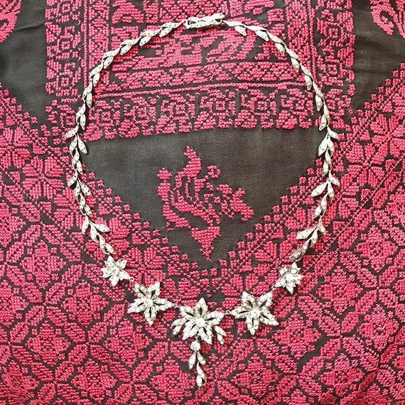 1930s Articulated Floral Paste and Silver Necklace
