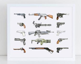 Gun Print - Iconic Gun Art - Movie Inspired Gun Art - Gun Gifts