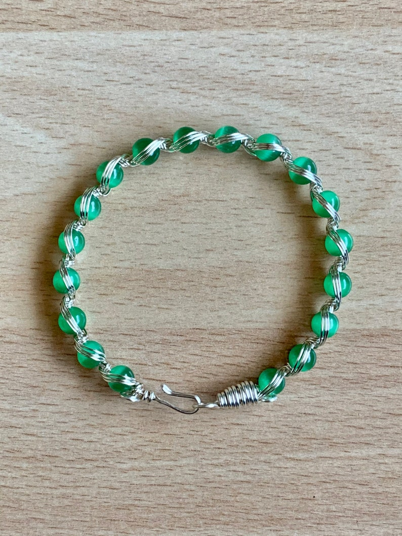 Patricks Day Green Cats Eye BraceletSilver Wire Wrapped BraceletGreen Beaded BraceletBoho jewelryGift for HerSt