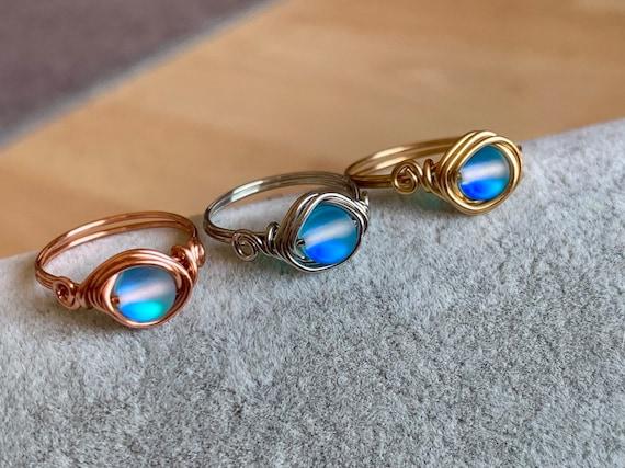 Silver Mermaid Glass Rose Gold RingWire Wrapped RingMoonstone GlassAura Glass RingBoho RingGift for Her