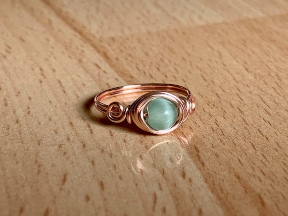 custom ring blue gemstone ring gold ring statement ring Cat/'s eye ring wire wrapped ring gold wire ring wire ring blue stone ring