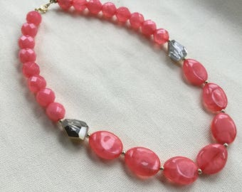 Chunky Pink Beaded Necklace