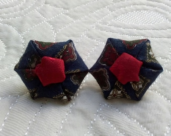 Clip earrings, cotton fabric.