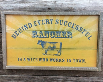 Wooden Sign Behind Every Successful Rancher Rustic Farmhouse Decor Country