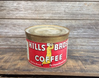 Vintage Hills Brothers Coffee Can Tin Rustic Farmhouse Décor Hills Bros Coffee