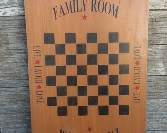 Welcome To Our Family Room Wooden Board Checkered Sign Game Room Wood Sign Rustic Farmhouse Décor