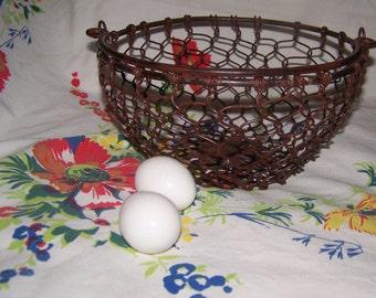 Chicken Wire Basket Brown Burl Finish Farmhouse Décor Country Heavy Metal Basket