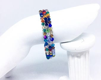 Crystal memory wire bracelet, multi coloured, bicone shape, adjustable, unique, one of a kind, handmade, gift for her,