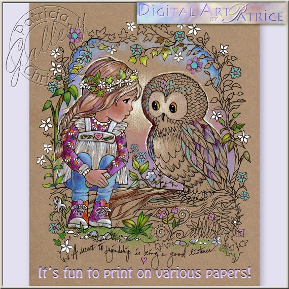 Printable Coloring Book Pages Digital Download Owl Girl Crafts And Cards Colored Pencils Gel Pens Print On Your Paper Of Choice