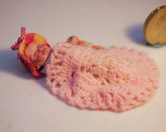 1/12th baby and toy sculpt from polymer clay, blanket and hat crocheted, OOAK miniature collectible
