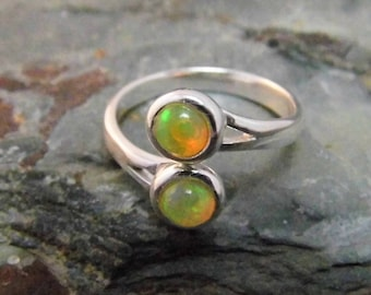Ethiopian Opal Ring Sterling Silver Opal Ring Adjustable Ring 5mm Opals Bypass Ring