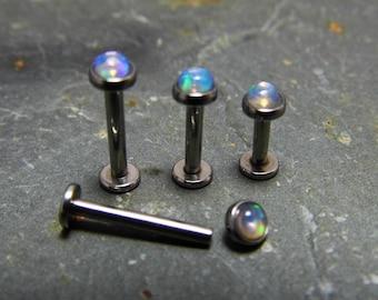 3mm Ethiopian Opal Labret Stud Blue Base Colour  Polished Surgical Steel 316L  Helix Monroe Piercings