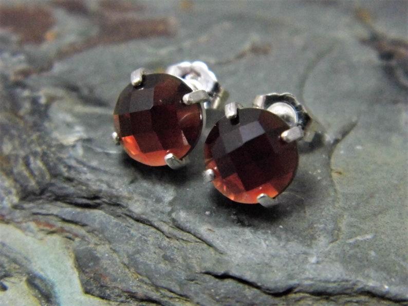 4 Claw Sterling Silver Setting Garnet Stud Earrings Checkerboard Cut 8mm Garnet Earrings