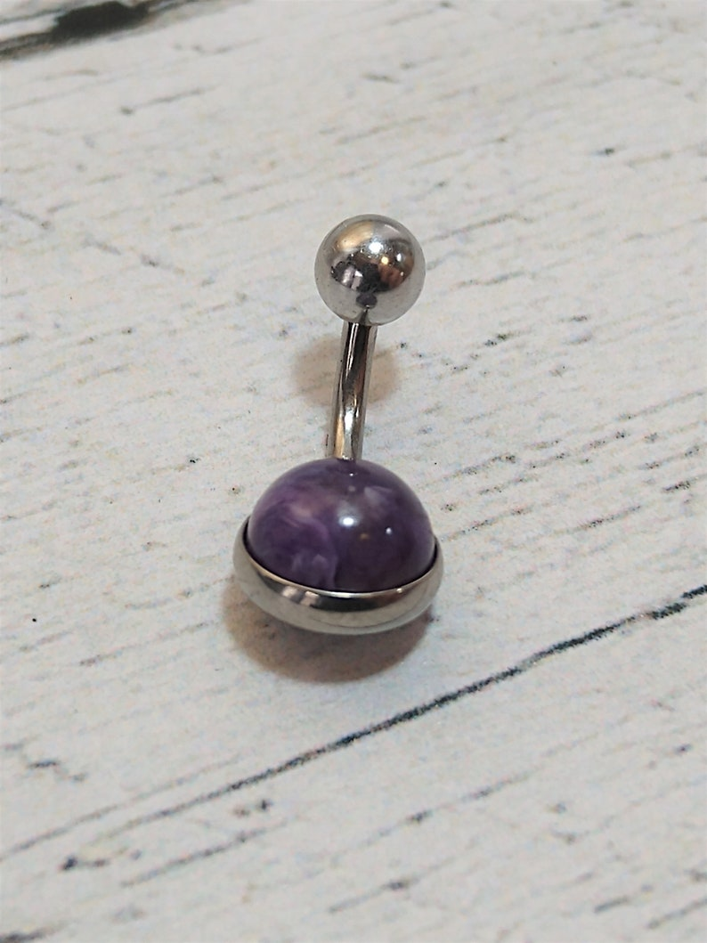 Purple Fleck Belly Bar Surgical Steel Dark Charoite Belly Ring Navel Post 14 Gauge
