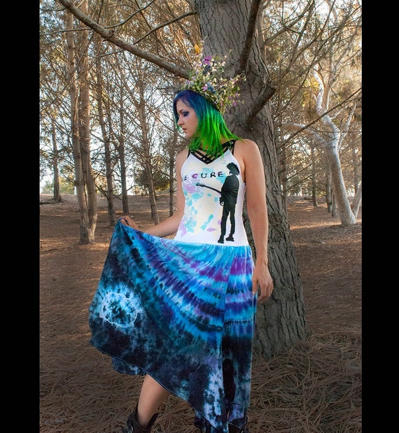 Small The Cure Pastel Goth Tie Dye Maxi Dress Etsy
