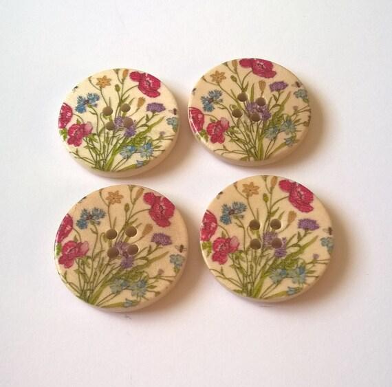 10 Botones Redondos Multicolor En Rosas De Madera 15mm