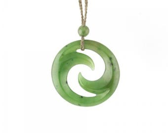 Canadian Nephrite Jade Pendant, Maori Double Koru