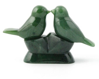 Hand Carved Canadian Jade Lovebird's - 35th wedding anniversary (multiple sizes)