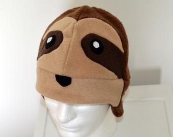 Sloth Fleece Hat with Earflaps