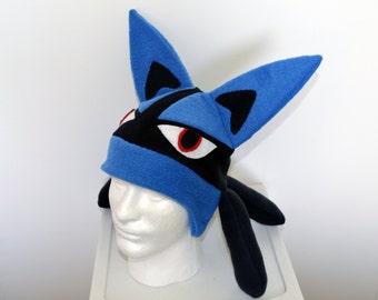 Lucario Pokemon Fleece Hat with Earflaps