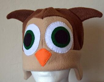 Owl Fleece Hat with Earflaps