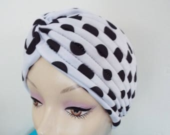 Ladies Turban Hat in  Black and White  Spot Pattern in soft folds and knots both front and back