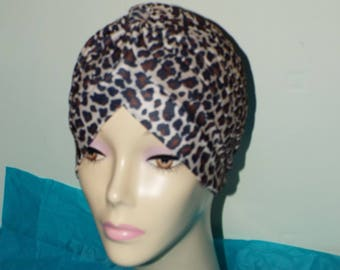 Ladies Turban Hat in  Leopard Pattern Brown/ Beige  in soft folds and knots both front and back