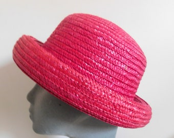 1348db942f5 Vintage Ladies Straw Hat 1960 s Pink Rolled Brim excellent Condition