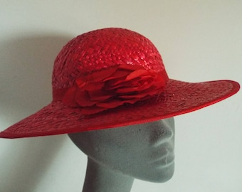 Ladies Red Wide Straw with Red Tulle Flower on Side with Banding Above the brim