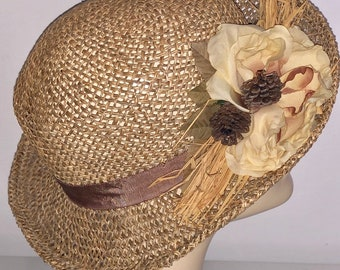 0c0212bc Vintage 1950's Open Straw Brimmed Hat With Flower design with straw and  acorns very unusual