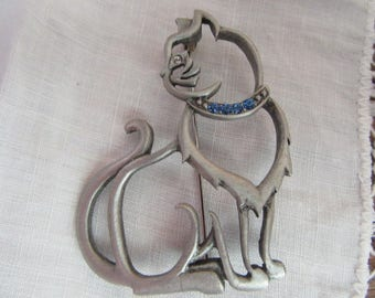 VINTAGE Brosche Atemberaubende Skelett Art Große 1980er CAT Brosche Von JJ  Jonette Katzenbrosche Mit Crystal Kragen
