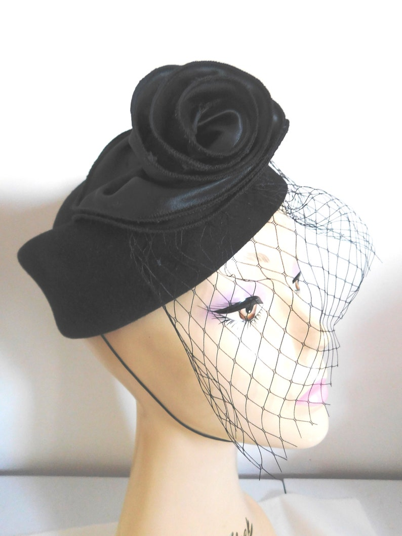 a2008abb4 Woman's Hat Black Wool Felt Pill Box/ Mourning Hat with Black Satin Flower  Front and Black face veil