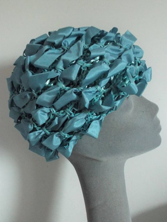 VINTAGE Ladies Hat 1950's Blue Tafetta Loop Hat  m