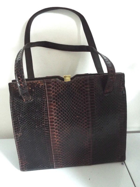 Vintage Handbag 1940s Brown Snakeskin two handled