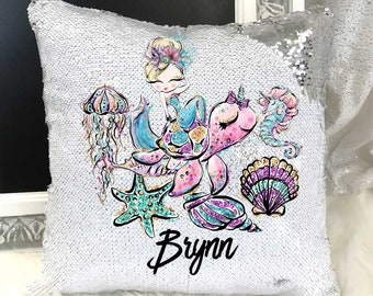 8510898116d08 Personalized Mermaid Sequin Pillow| Sequin Mermaid Pillow| Custom sequin  Mermaid Pillow| Reversible Sequin Pillow