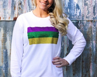 a911e5b3bb00b Mardi Gras Glitter Flag Thermal | Mardi Gras Shirt | Thermal Mardi Gras |  Glitter | Mardi Gras Clothing
