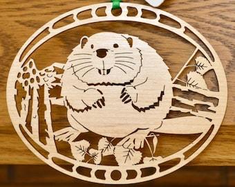 Wood Beaver ornament wood cut Beaver decoration North American Beaver ornament