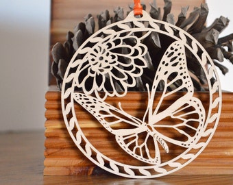 Wood Butterfly ornament woodcut Monarch butterfly decoration