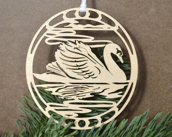 Wooden Swan ornament bird wood cut design woodcut Swan decoration