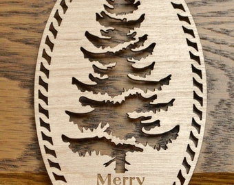 Wood-cut Christmas ornament Douglas-Fir tree silhouette Merry Christmas engraved Personalize with engraving