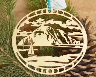 Morro Bay ornament woodcut Morro Rock decoration Laser cut Morro Bay decoration
