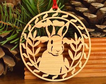 Rabbit wood ornament wood-cut hanging decoration Wooden up-eared bunny ornament