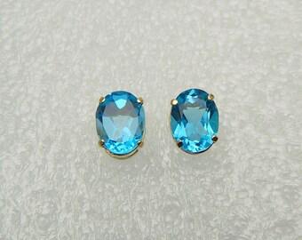 Vintage 14K Gold Large Oval Faceted Blue Topaz Basket Setting Stud Earrings