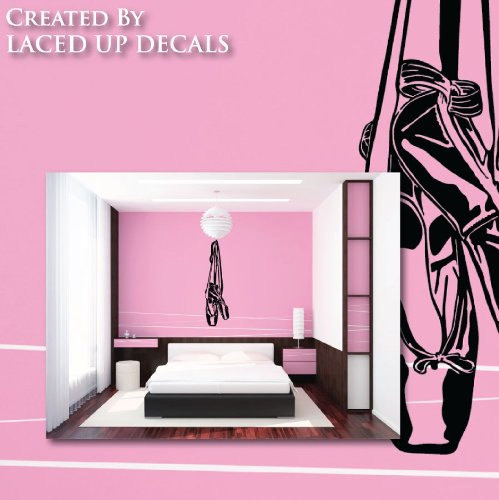 ballet shoes hanging huge wall decal © 2013 laced up decals sku:ballet shoes hanging huge wall decal