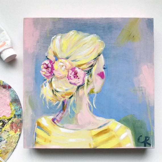 43f356d2a4 Spring girl painting fashion girl art original artwork