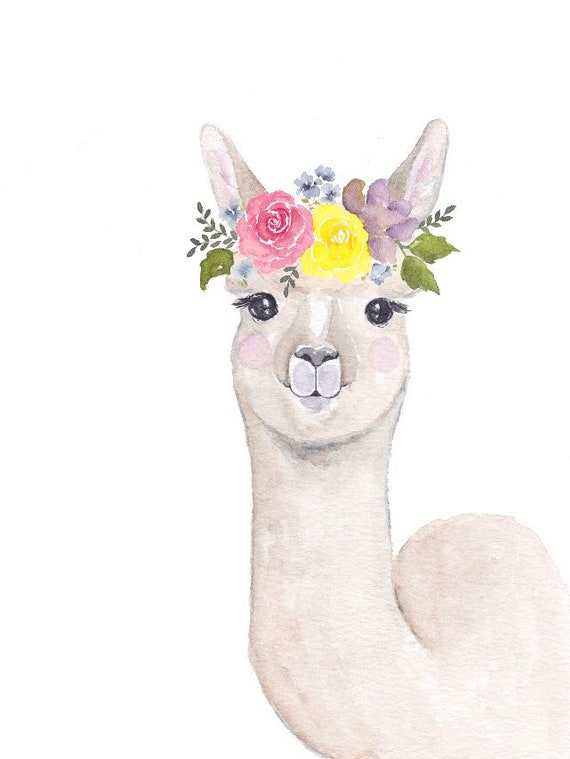 image about Llama Printable known as Boy or girl llama printable - electronic print - llama nursery artwork - child llama watercolor - boy or girl animal watercolor - flower crown animal