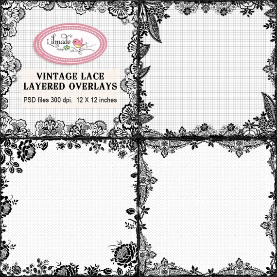 Vintage lace layered overlays photography template PSD | Etsy