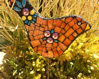 Handmade Mosaic Garden Art Orange